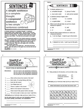 simple compound sentences worksheets task cards