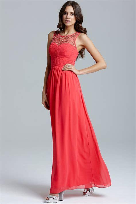mistress coral embellished detail maxi dress