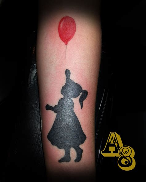 silhouette girl tattoo holding  red balloon   chad