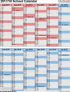 2017 2018 School Calendar Template Printable