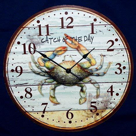 crab wall clock nautical clocks beach house