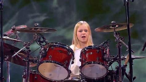 amazing ten year  girl drummer wins denmarks