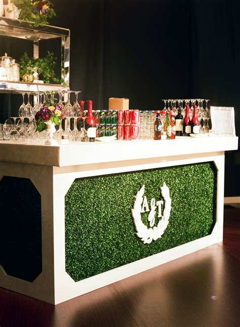 Custom Designed Bar Boxwood Monogram Wedding