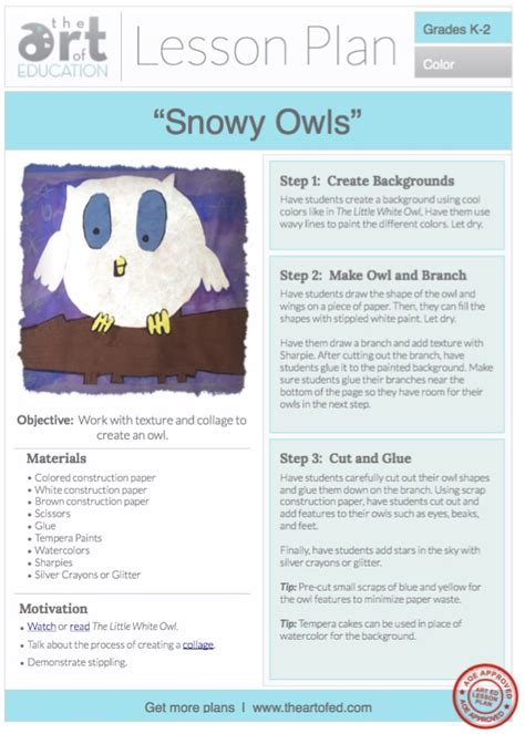 Snowy Owls Free Lesson Plan Download  The Art Of Ed