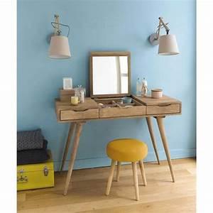 tabouret en tissu et bois jaune bois pin39up chambre With coiffeuse maison du monde
