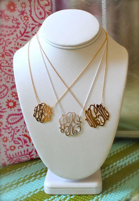 cutout monogram necklace  white yellow  rose gold featured  babyboxcom