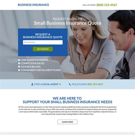 business insurance quotes small business insurance quote squeeze page design