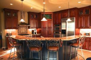 2 tier kitchen island corner oriented kitchen features cherry wood cabinetry