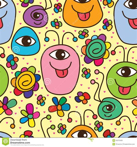 monster cute happy seamless pattern stock vector image
