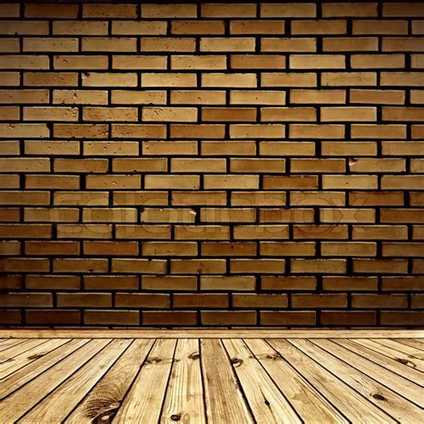 Interior with brick wall and wooden floor   Stock Photo