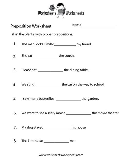 preposition worksheets for grade 1 with answers 427 free