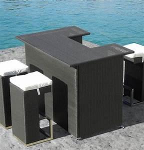 Bar Exterieur De Jardin : bar ext rieur pour patio en osier r sine 4 pc table et 3 ~ Dailycaller-alerts.com Idées de Décoration
