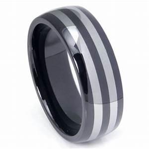 Black ceramic double tungsten carbide inlay dome wedding for Black ceramic wedding ring