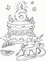 Coloring Birthday Cake Pages Age Happy 6th Print Colouring Adult Printable Sheets Coloriage Stamps Books Adults Cute Chandelle Cartoon Cakes sketch template