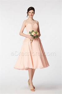 blush lace bridesmaid dresses tea length with sash With blush tea length wedding dress