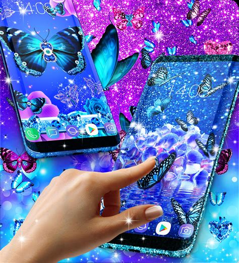 Blue glitter butterflies live wallpaper for Android - APK ...