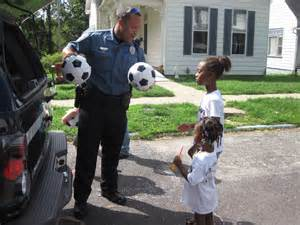Community Police Officer with Kids