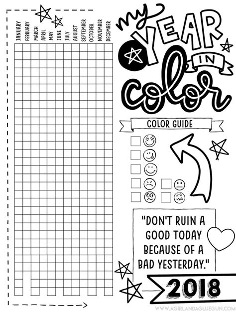 my year in color printables a girl and a glue gun