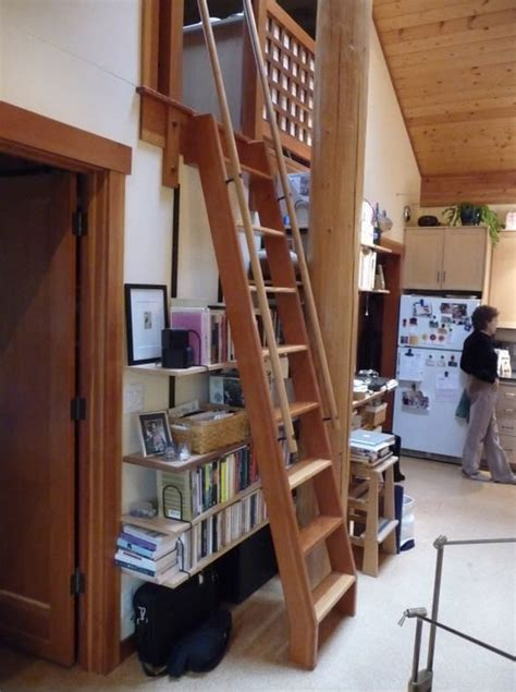 loft ladder ladders stairs attic railing ships handrails cabin wooden stair ship platform tiny short staircase higher closet library down
