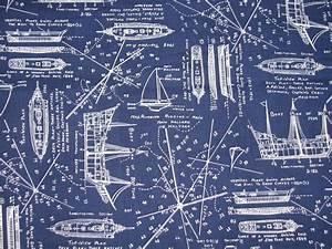vintage nautical fabric, navy blue white, blueprints ...