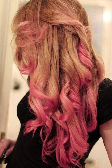 blonde honey colored hair  pink ends curly hair