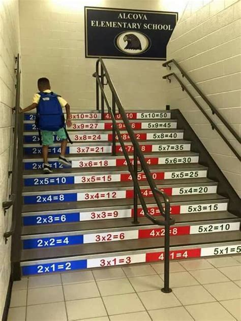 multiplication stairs education school hallways