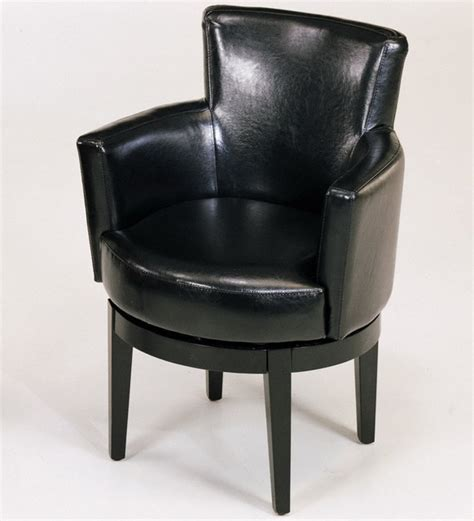 swivel club chair in black leather modern armchairs