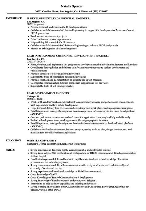 lead development engineer resume sles velvet