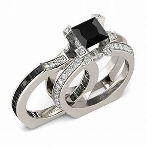 jeulia interchangeable princess cut created black diamond With jeulia wedding ring sets