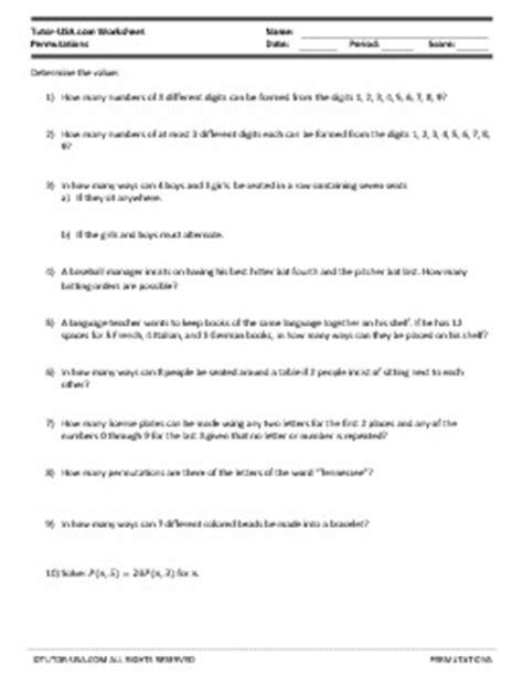 Worksheet Permutations  Solve Counting Problems  Algebra Printable