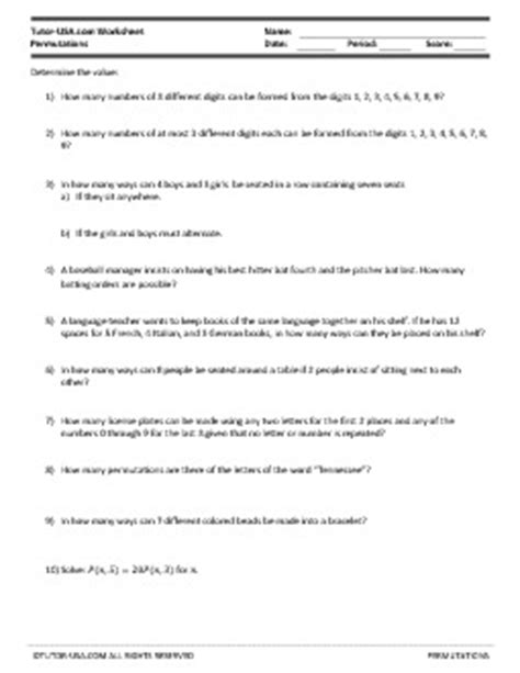 Worksheet: Permutations - Solve Counting Problems