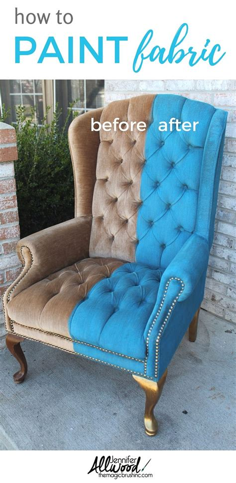 paint velvet fabric  chair makeover painting fabric