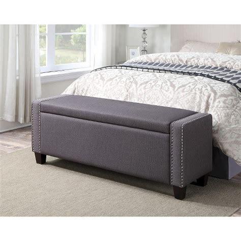 upholstered bedroom storage bench trespass slate