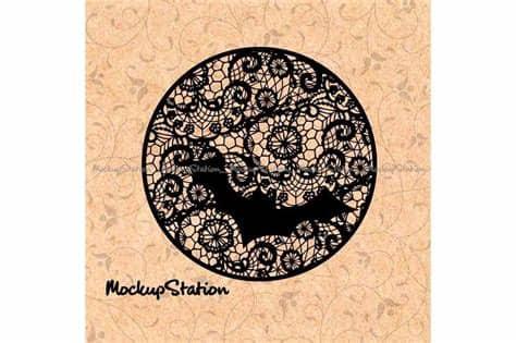 Perfect for wall vinyl or signs! Bat Moon Halloween Lace Mandala svg Zentangle Boho Fall ...