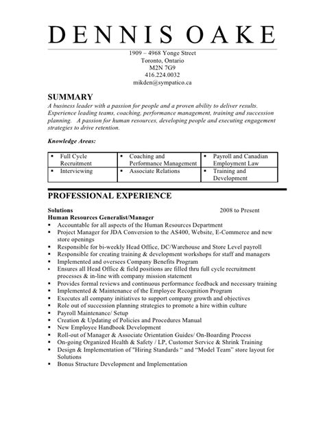 Hr Generalist Cv Sles by Hr Resume