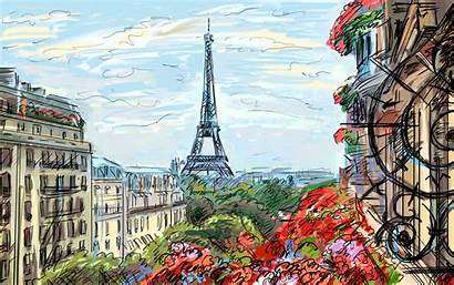 Paris Cafe French Painting France Artwork Sky
