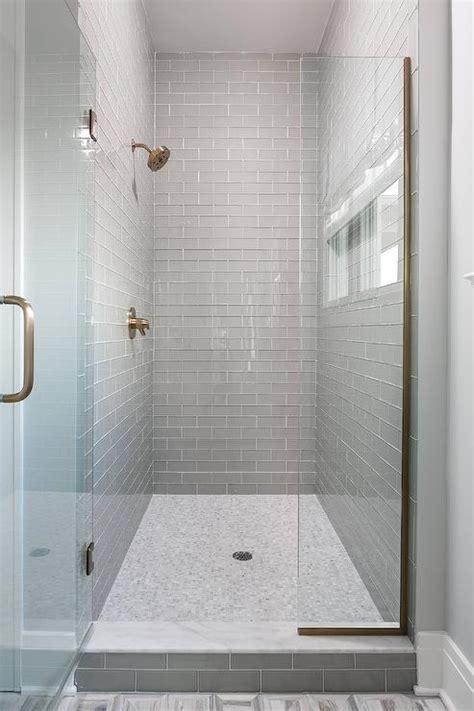 walk  shower  gray glass subway tiles  white