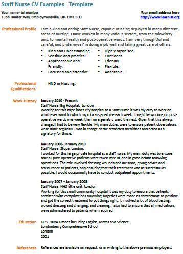 Staff Cv Template by Staff Cv Exle Nursing Nursing Cv