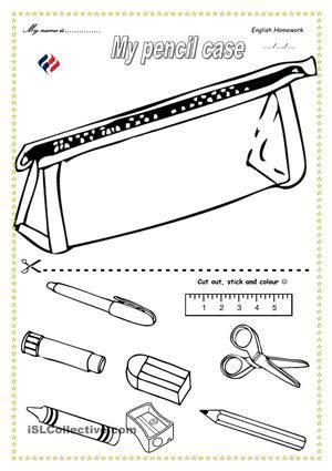school objects worksheet for kindergarten pencil case school stuff school objects worksheets