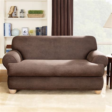 slipcover for leather sofa sure fit stretch leather t cushion two sofa