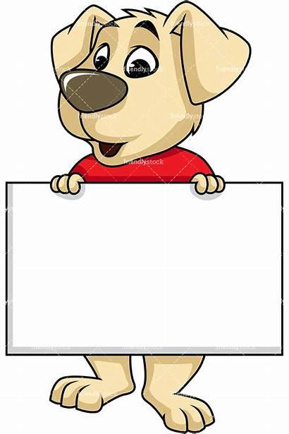 Holding Dog Sign Cartoon Clipart Mascot Vector