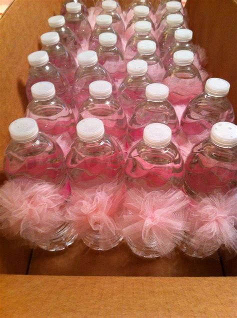 water bottle pom poms tutu themed baby shower