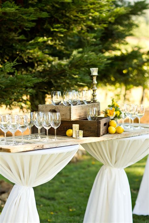 table idea rustic cocktail hour decor wedding planning