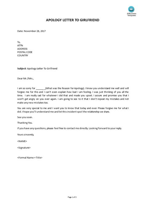 apology letter  girlfriend templates