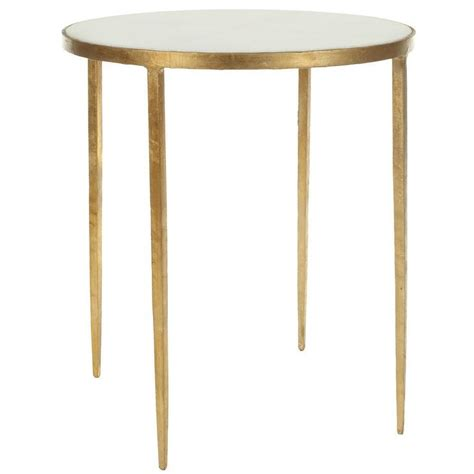 safavieh treasures white granite brass accent table