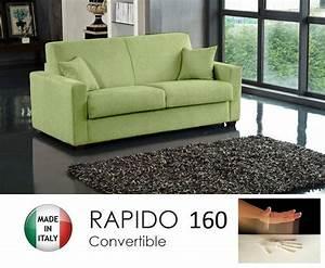 Canapé Convertible Vert : canape convertible rapido 160cm dreamer tissu microfibre vert anis matelas 160 14 190 cm a ~ Teatrodelosmanantiales.com Idées de Décoration
