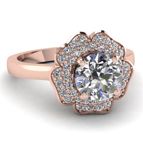 cut halo flower  row diamond engagement ring