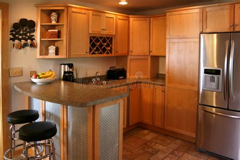 kitchen cabinets price kitchen wood cabinets stainless refrigerator stock image 3181