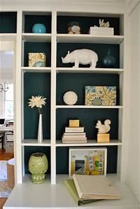 11, Makeover, Painting, The, Back, Of, Our, Built, In, Bookcases