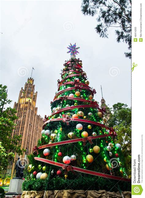 christmas tree in melbourne city square stock photo